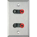My Custom Shop WPL-1164 1-Gang Stainless Steel Wall Plate w/ 2 Dual Binding Post Connectors