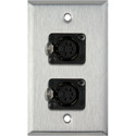 My Custom Shop WPL-1179 1-Gang Stainless Steel Wall Plate w/ Two 5-Pin FXLR DMX Connectors