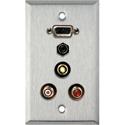 My Custom Shop WPL-1181-FT 1-Gang Stainless Steel Wall Plate w/ VGA-F/ 3 RCA/ 3.5mm TRS (all feedthru)