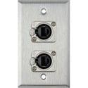My Custom Shop WPL-1182 1-Gang Stainless Steel Wall Plate w/ 2 Neutrik NE8FDP Barrel Connectors