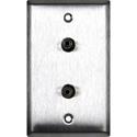 My Custom Shop WPL-1198 1-Gang Stainless Steel Wall Plate w/ 2 mini 3.5 stereo feedthrough