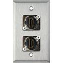 My Custom Shop WPL-1200 1-Gang Stainless Steel Wall Plate w/ (2) HDMI Feedthru