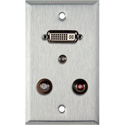 My Custom Shop WPL-1208 1-Gang Stainless Steel Wall Plate w/ 1 DVI-29 1 3.5st Ft & 2 RCA FT