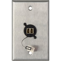My Custom Shop WPL-1218 1-Gang Stainless Steel Wall Plate w/ 1 Duplex LC Multimode Fiber Optic Connector