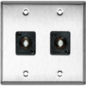 My Custom Shop WPL-2102/R 2-Gang Stainless Steel Wall Plate w/ 2 Front Recessed F- Female Barrels