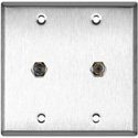 MCS WPL-2102 2-Gang Stainless Steel Wall Plate w/ Two F- Female Barrel Connectors