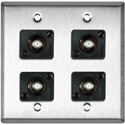 My Custom Shop WPL-2103/R 2-Gang Stainless Steel Wall Plate w/ 4 Front Recessed F- Female Barrel Connectors