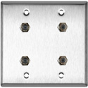 MCS WPL-2103 2-Gang Stainless Steel Wall Plate w/ 4 F- Female Barrel Connectors
