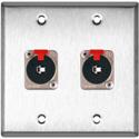 My Custom Shop WPL-2105 2-Gang Stainless Steel Wall Plate w/ 2 Neutrik NJ3FP6C Stereo 1/4 Latching Jacks
