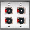 My Custom Shop WPL-2106 2-Gang Stainless Steel Wall Plate w/4 Neutrik Stereo 1/4 Latching Jacks