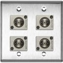My Custom Shop WPL-2108 2-Gang Stainless Steel Wall Plate with 4 Canare BCJ-JRUK 12G-SDI Recessed BNC Barrels