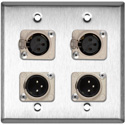 My Custom Shop WPL-2109-COMBO 2-Gang Stainless Steel Wall Plate w/ Neutrik Dual 3-Pin XLR-M & Dual XLR-F