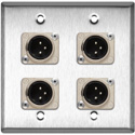 My Custom Shop WPL-2109 2-Gang Stainless Steel Wall Plate w/ 4 Neutrik XLR 3-Pin Male Connectors