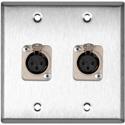 My Custom Shop WPL-2110 2-Gang Stainless Steel Wall Plate w/2 Neutrik Latching 3-Pin XLR-Fs