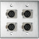 My Custom Shop WPL-2111-TB 2-Gang Stainless Steel Wall Plate w/ 4 Latching 3-Pin XLR Female Terminal Block