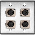 My Custom Shop WPL-2111 2-Gang Steel Wall Plate with 4 Neutrik Latching 3-Pin XLR Females