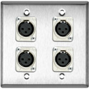My Custom Shop WPL-2113 2-Gang Stainless Steel Wall Plate w/ 4 Latchless 3-Pin XLR-F