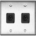My Custom Shop WPL-2114 2-Gang Stainless Steel Wall Plate w/ 2 Neutrik Plastic 3-Pin XLR Males