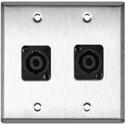 My Custom Shop WPL-2118 2-Gang Stainless Steel Wall Plate w/ 2 Neutrik NL4MP 4-Pole speakONs