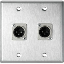 My Custom Shop WPL-2120-TB 2-Gang Stainless Steel Wall Plate w/ 2 XLR 3-Pin Male Terminal Block