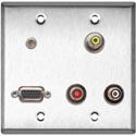 My Custom Shop WPL-2122-FT 2-Gang Stainless Steel Wall Plate w/ 3 PF-PFCM Rca Feed-Thru 1 HD15 1 3.5 Mini Feed Thru