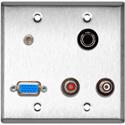 My Custom Shop WPL-2124 2-Gang Stainless Steel Wall Plate w/ 1 HD-15F 1 S-Video 2 RCA Barrels & 1 3.5mm Stereo Mini Jack