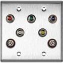 My Custom Shop WPL-2126 2-Gang Stainless Steel Wall Plate w/ 5 BNC RGBHV Barrels & 2-RCA Barrels