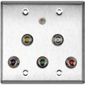 My Custom Shop WPL-2127 2-Gang Stainless Steel Wall Plate w/ 5 BNC RGBHV Barrels & 1-3.5mm Stereo Mini Jack