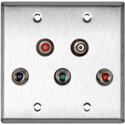 My Custom Shop WPL-2128 2-Gang Stainless Steel Wall Plate w/ 3 BNC RGB Barrels & 2- RCA Barrels