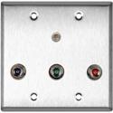 My Custom Shop WPL-2129 2-Gang Stainless Steel Wall Plate w/ 3 BNC RGB Barrels and 1 Stereo Mini Jack
