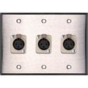 My Custom Shop WPL-3102 3-Gang Stainless Steel Wall Plate w/ 3 Latching Neutrik 3-Pin XLR-Fs