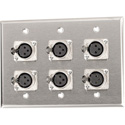 My Custom Shop WPL-3104-TB 3-Gang Stainless Steel Wall Plate w/ 6 Latching 3-Pin XLR Female Terminal Block