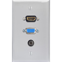 My Custom Shop WPLW-1213 1-Gang White Lexan Wall Plate w/ HDMI with 15-Pin VGA & Stereo Mini Jack