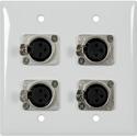 My Custom Shop WPLW-2111 2-Gang White Lexan Wall Plate w/ 4 Neutrik Latching 3-Pin XLR