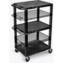 H. Wilson Open Shelf Utility And Audio Visual Carts - (Black)