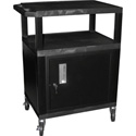 Luxor WT26C2E Utility AV Cart 26 Inch High with 4 Inch Casters Black