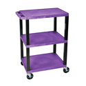 Luxor WT34S - 34-Inch High Purple Tuffy Utility Cart - 3 Shelves