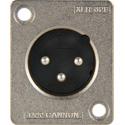 Canare D-Hole XLR-3-32F77 ITT Cannon Solder Back Rectangular Small Flange 3-Pin XLR Panel Mount Male Plug