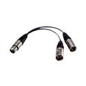 Bescor 4 Pin XLR Power Y-Adaptor 1Female to 2Males 5 Inch