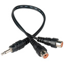 Y-M-2PF 3.5mm Mono Male to 2 RCA Female Y-Cable 10 Inches